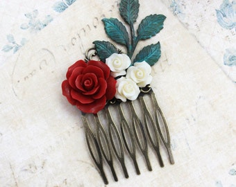 Bridal Hair Comb Deep Red Rose Hair Comb Flower Hair Comb Cream Rose Leaf Rustic Branch Winter Wedding Christmas Accessories Country Chic