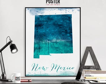 New Mexico state map wall art print, United states map poster, travel poster, gift, home decor, iPrintPoster