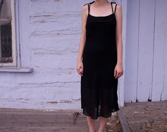 Vintage 90s // ethereal, chiffon, black dress // sleeveless // simple cut // knotted straps // thin // small, medium size