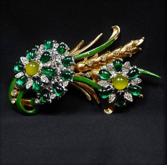 HUGE Art Deco Brooch / Crystal Rhinestone Flower Brooch
