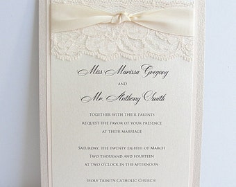 Lace Wedding Invite, Lace Invitation, LACEY - Deposit