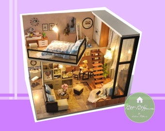 1:24 Miniature New Designed Apartment with Loft DIY Dollhouse Kit - FREE SHIPPING
