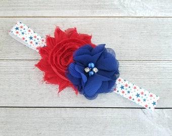 Red White and Blue Headband - Patriotic Headbands - Infant Headbands - Newborn Headbands - Red and Blue Headbands - 4th of July Headband