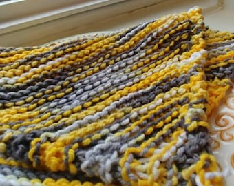 Knitted Dishcloth/Washcloth -- Yellow, Grey, White Variegated Yarn