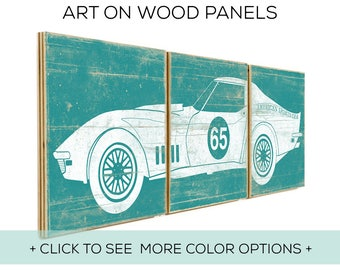 Set of 3 Prints - Nursery Decor - Boy Car Wall Art - Custom Car Print - Race Car Theme - Race Car Wall Art - Race Car Nursery - Old Car Art
