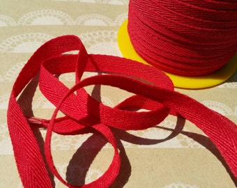 """RED Twill Tape Trim - Sewing Bunting Shipping Packaging - 3/8"""" Wide - 10 Yards"""