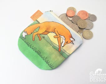 Fox Coin Purse, Handmade Purse, Zip Bag, Make-up Bag, Stocking Filler, Fox Gift