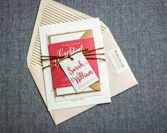 "Rustic Invitations with Twine, Calligraphy Wedding Invitation Suite, Red and Pink Invitations - ""Calligraphy Chic"" FP-NL-v1 SAMPLE"