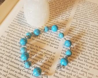 "Howlite ""Turquoise"" Bracelet// Boho// OOAK// Festival Jewelry// Hippie Jewelry// Healing Crystal"