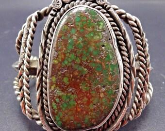 Vintage NAVAJO Sterling Silver & Dark GREEN Spiderweb TURQUOISE Cuff Bracelet
