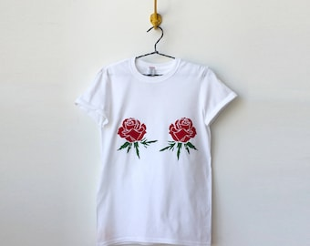 Velvet Red Flower Print Graphic Tshirt