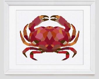 Cross stitch pattern, crab counted cross stitch, crab cross stitch pattern, crab cross stitch pdf pattern