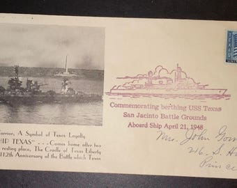 vintage 1948 canceled 3 cents stamp envelope with The Naval Warrior on it