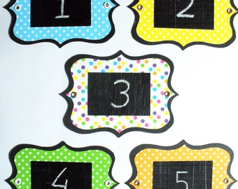 Dotted Chalkboard Labels - multi-use, colourful and re-usable with metal eyelets. Set of 6