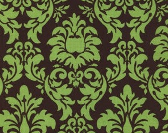 Michael Miller Home Dec Fabric Dandy Damask Pistachio and Brown 1/2 Yard