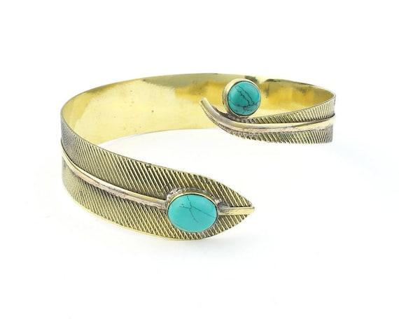 Turquoise Feather Brass Arm Cuff, Soar Arm Band, Silver Armlet, Festival, Gypsy, Boho, Bohemian, Western, Indian, Hippie