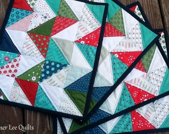 Modern Christmas Placemats - Quilted Placemats - Holiday Placemats - Set of 4 Placemats - Ugly Sweater Holiday Decor - Chevron Placemats