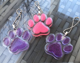 Pink and Purple Resin Paw Charms