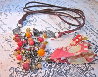 Fire Red Fabric Tassel Necklace