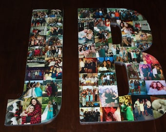 """Christmas Gift, 24"""" Wooden Letter, Personalized Initial, Wall Hanging Photo Collage"""