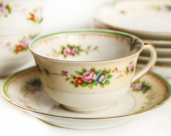 Noritake Morimura Brothers Tea Cup & Saucer Porcelain Fine China ~ Japan ~ Green and Pink Floral Design