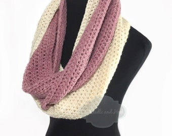 Pink and Cream Crochet Infinity Scarf, Plush Crochet Scarf, Chunky Pink Neck Warmer, Cream Crochet Cowl, Two Tone Crochet Snood