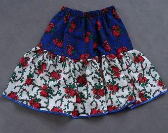 Floral Skirt Blue & White