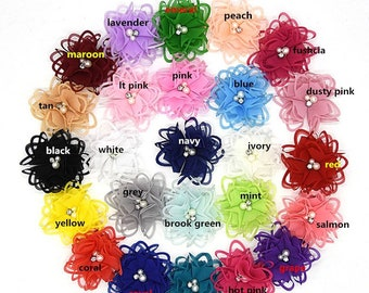 New Flowers New Colors 2.9 inch Hair bow Roses shabby chiffon