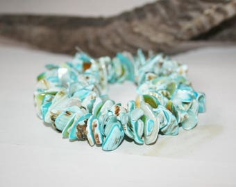 Shell beads, shell beads, chips, turquoise, 15 mm