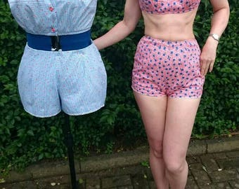 50s 60s gingham beach set two piece swimsuit made from original pattern