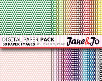 Triangle digital paper , Triangle Pattern ,Triangles Digital Papers ,Geometric Colorful Triangle,Background,cards,printable,Instant Download