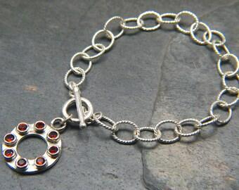 Red Garnet and Sterling Silver Big Chain Statement Bracelet - Eternity Charm Bracelet - Bezel Set Genuine Gemstones - January Birthstone