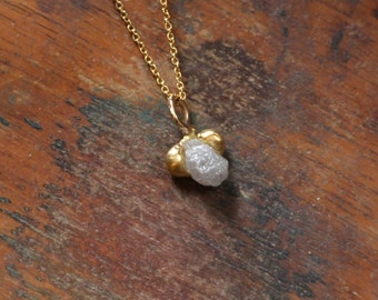 Rough diamond necklace, raw diamond pendant, floating small diamond necklace, raw diamond jewelry