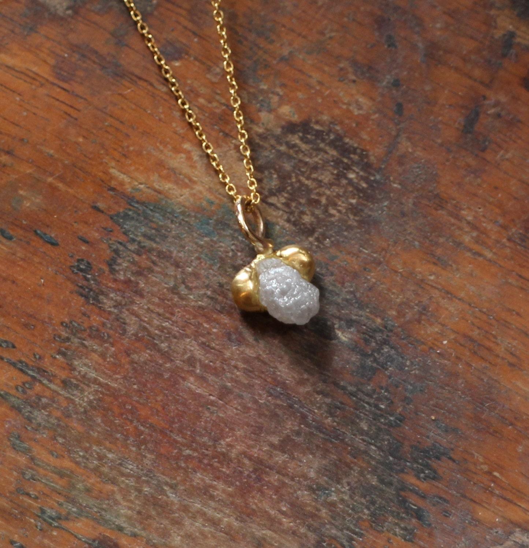 Rough diamond necklace raw diamond pendant floating small zoom aloadofball Image collections