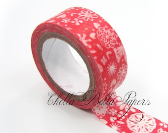 Red Floral Washi Tape - Paper, Sticker, Scrapbooking