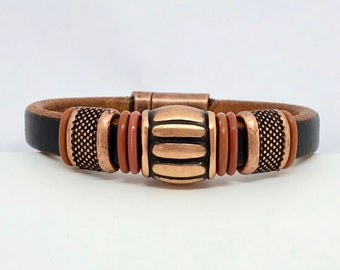 Mens Copper Bracelet - Leather Cuff mens - Beaded Bracelet Men - Gift for Him - Mens Bracelet Metal - Rustic Cuff - Brown Leather Cuff