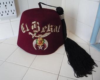 Vintage Men's 7 1/4 Wolf-Brown Felt Fez EL BEKAL Shrine Jeweled Tassel Hat 1960s