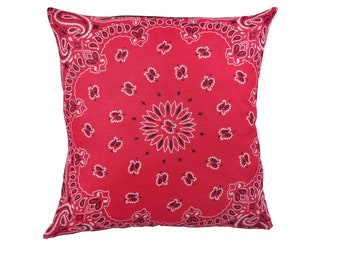 Magenta Pink Bandana Pillow Cover - Home Decor