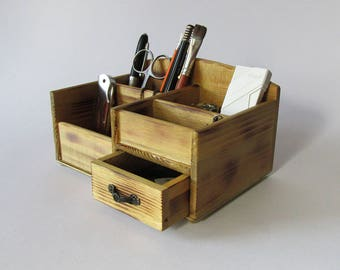 Desk Organizer Office Organizer Pencil Cup Office Decor Caddy Tools Office Supplies Holder Wooden Organizer- burned wood