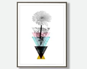 Geometric Flower, Abstract Flower Print, Minimalist Print, Modern Art Prints, Flower Art, Geometric Art, Scandinavian Art, Abstract Flower