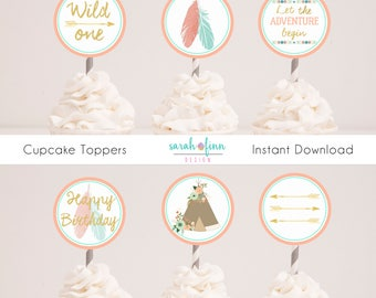Wild One Birthday Cupcake Toppers Tribal Party Decor Boho Coral Mint First Birthday Wild One Party Printable Instant Download Gold Teepee
