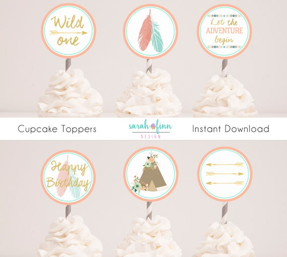 wild one birthday cupcake toppers tribal party decor boho. Black Bedroom Furniture Sets. Home Design Ideas
