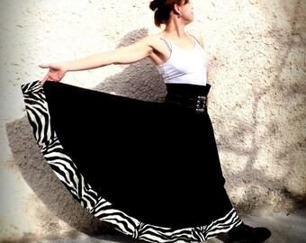 """Flared long skirt """"Kaliss"""" Zebra size 38"""