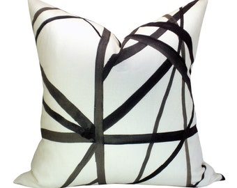 Channels pillow cover in Ebony/Ivory