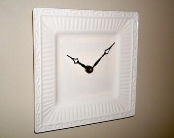 Square Creamy White Wall Clock, 8-1/4 Inches, Small Wall Clock, Kitchen Clock, Unique Wall Clock, Ceramic Plate Clock - 2423