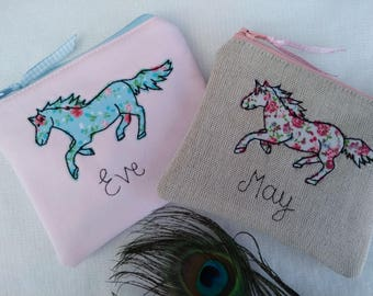 Handmade Personalised Coin Purse Pouch, Horse Design with choice of colour, floral lining,  Choice of colour and wording pink blue gift girl