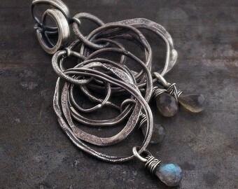 raw sterling silver with labradorite earrings • multi - circle • inspirational women gift  • boho earrings hugie  hoops raw silver