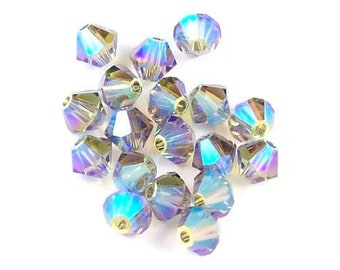 4mm Black Diamond AB2x 5301 5328 Swarovski Crystal - Black Diamond AB2x 4mm  Bicone 5301 5328