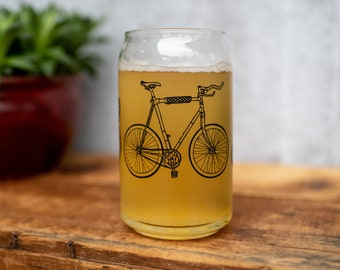 Bike Glass TWO pack -  Bicycle barware screenprinted pint glass beer cycling art gift for him