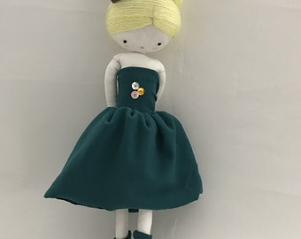 Handmade rag doll , Sophie- ooak cloth art rag doll green dress, crown and socks toys for girls